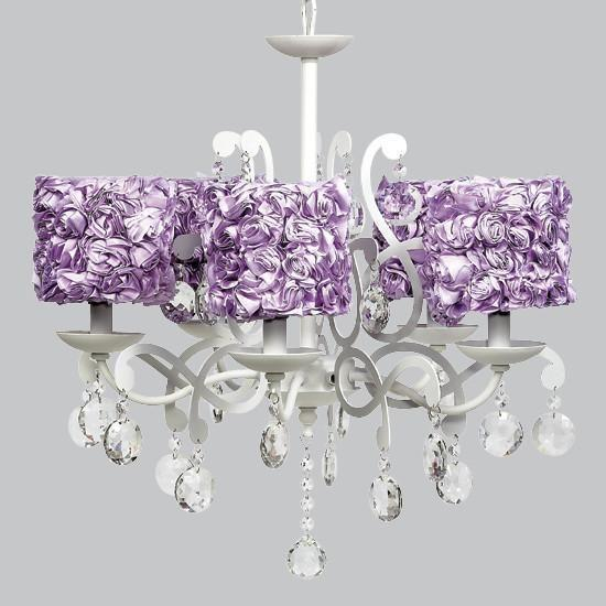 White 5 Light Elegance Chandelier with Lavender Rose Garden Shades-Chandeliers-Default-Jack and Jill Boutique