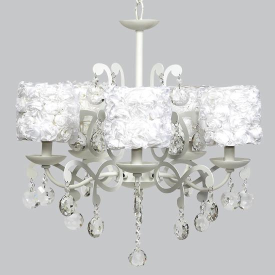 White 5 Light Elegance Chandelier with White Rose Garden Shades-Chandeliers-Default-Jack and Jill Boutique