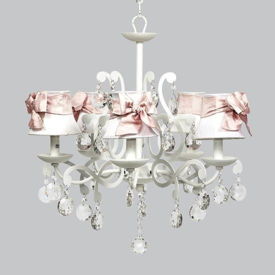 White 5 Light Elegance Chandelier with White Shades and Pink Medium Sashes-Chandeliers-Default-Jack and Jill Boutique