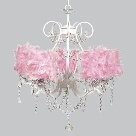 White 5 Light Grace Chandelier with Pink Feather Drum Shades-Chandeliers-Default-Jack and Jill Boutique