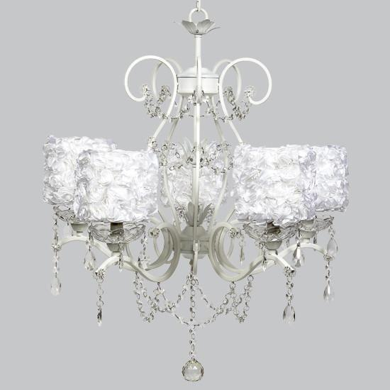 White 5 Light Grace Chandelier with White Rose Garden Drum Shades-Chandeliers-Default-Jack and Jill Boutique
