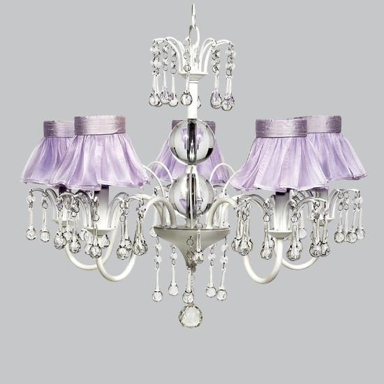 White 5 Light Wistful Chandelier with Lavender Ruffled Sheer Skirt Shades-Chandeliers-Default-Jack and Jill Boutique
