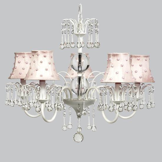 White 5 Light Wistful Chandelier with Pink Pearl Dot Chandelier Shades-Chandeliers-Default-Jack and Jill Boutique