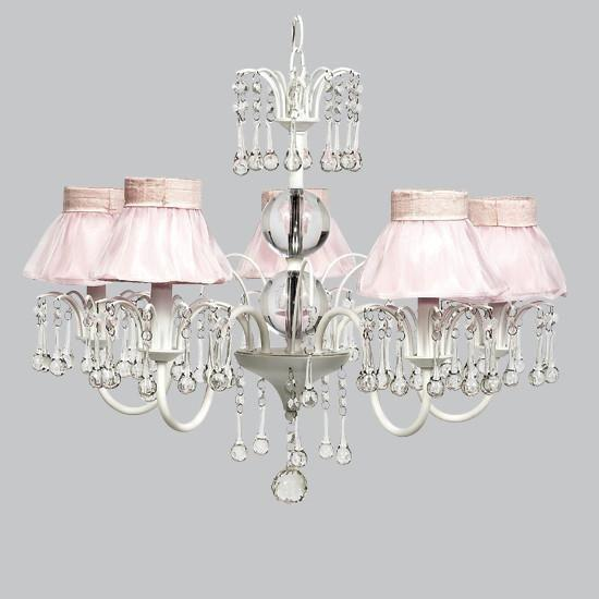 White 5 Light Wistful Chandelier with Pink Ruffled Sheer Skirt Shades