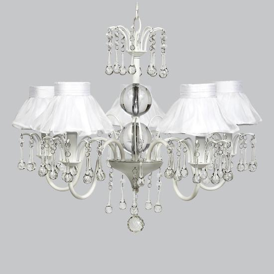 White 5 Light Wistful Chandelier with White Ruffled Sheer Skirt Shades