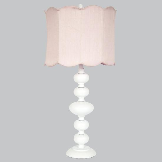 White Bola Lamp with Pink Double Scallop Drum Shade-Table Lamp-Default-Jack and Jill Boutique
