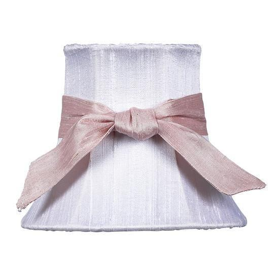 White Chandelier Shade with Pink Sash-Chandelier Shades-Default-Jack and Jill Boutique