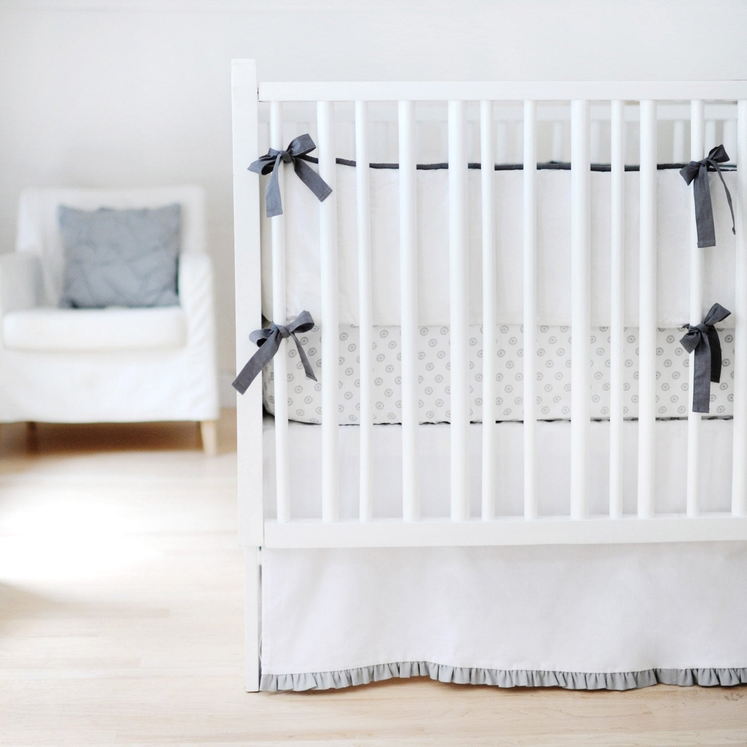 White & Gray Sweet & Simple Baby Bedding Set-Crib Bedding Set-Jack and Jill Boutique