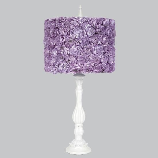 White Large Lotus Base with Lavender Rose Garden Shade-Table Lamp-Default-Jack and Jill Boutique