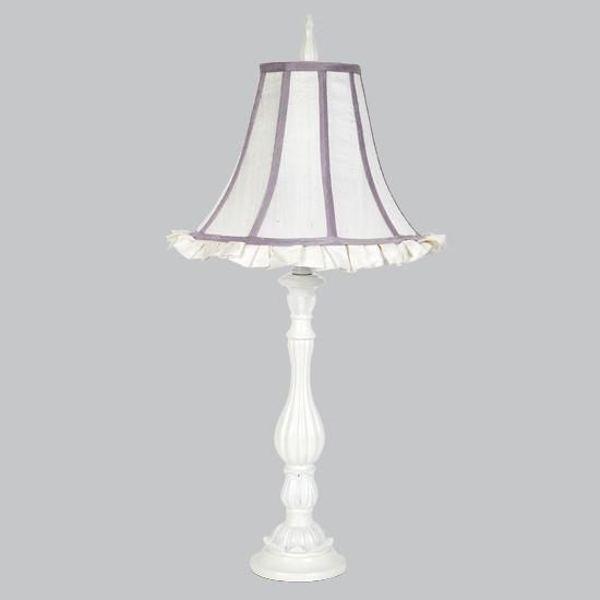 White Large Lotus Base with White & Lavender Trim Ruffled Shade