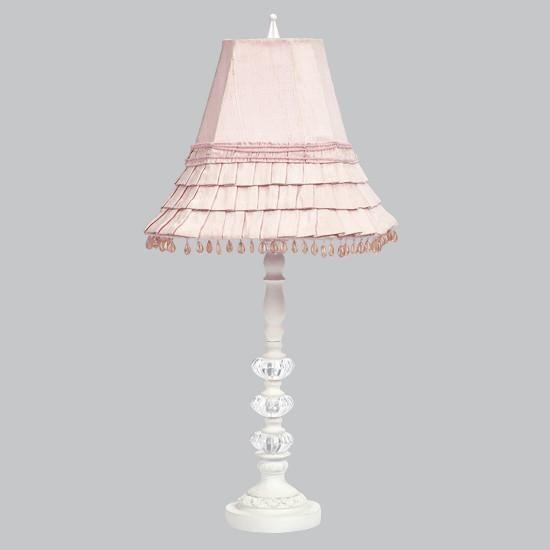 White Medium 3 Glass Ball Base with Pink Skirt Dangle Medium Shade-Lamp Base-Default-Jack and Jill Boutique