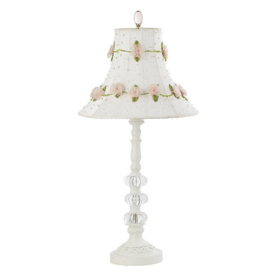 White Medium 3 Glass Ball Base with White Roses on Vine Shade and Glass Finial