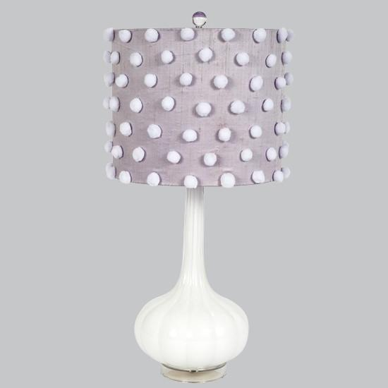 White Opaque Squash Base with Lavender Drum Shade with White Pom Poms-Table Lamp-Default-Jack and Jill Boutique