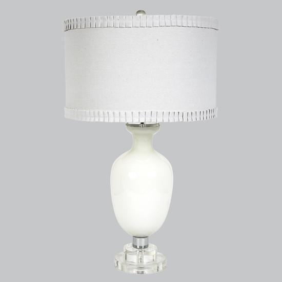 White Opaque Traditional Base with White shade-Table Lamp-Default-Jack and Jill Boutique