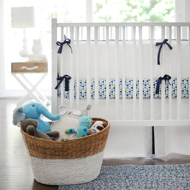 White Pique in Navy Baby Bedding Set-Crib Bedding Set-Jack and Jill Boutique