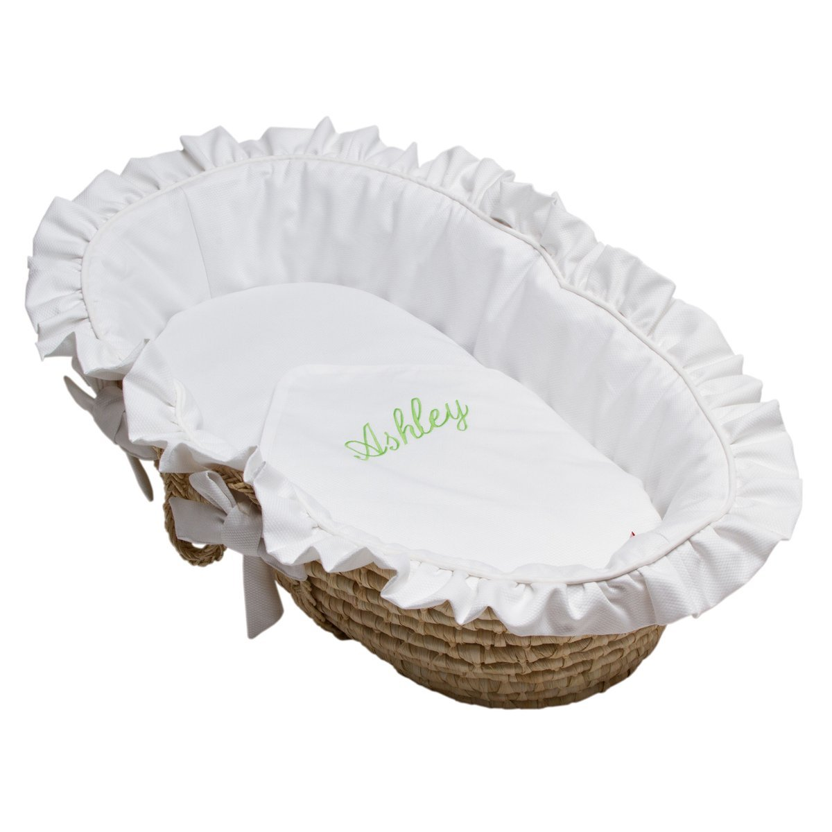 White Pique Moses Basket-Moses Basket-Tailored-Do not personalize-Jack and Jill Boutique