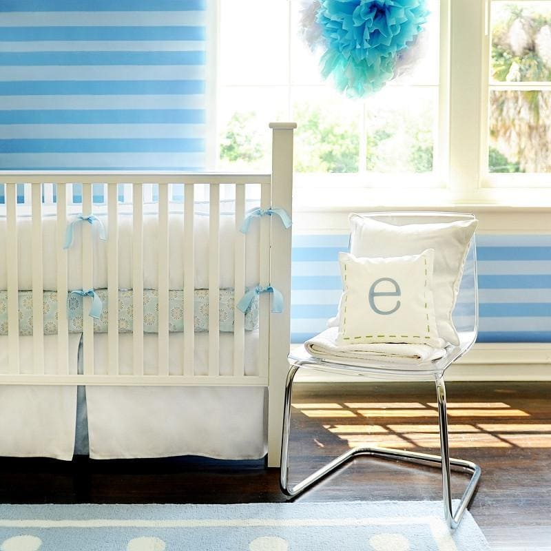 White Pique with Blue Trim Baby Bedding Set-Crib Bedding Set-Jack and Jill Boutique