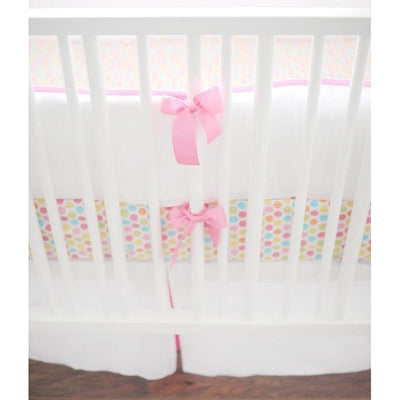 White Pique with Hot Pink Trim Baby Bedding Set-Crib Bedding Set-Default-Jack and Jill Boutique