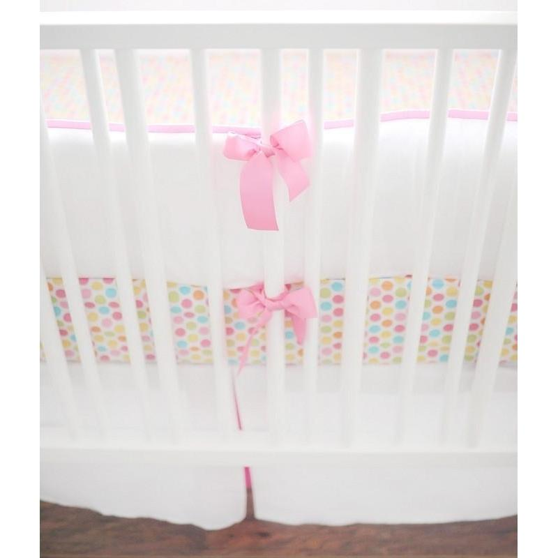 White Pique with Hot Pink Trim Baby Bedding Set