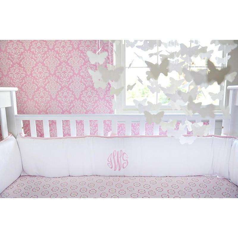 White Pique with Pink Trim Baby Bedding Set-Crib Bedding Set-Default-Jack and Jill Boutique