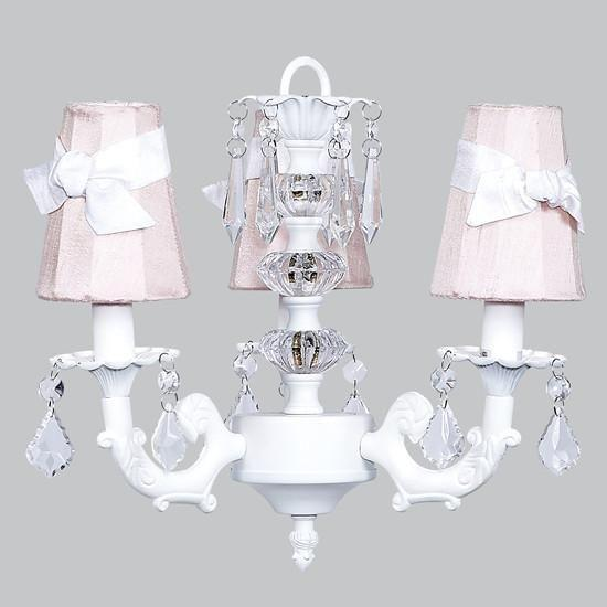 White Three-Light Stacked Glass Ball Mini Chandelier with Pink and White Sash Shades