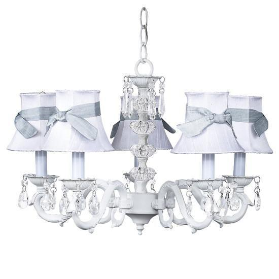 White Turret 5 Light Chandelier with White Chandelier Shades and Blue Chandelier Sash