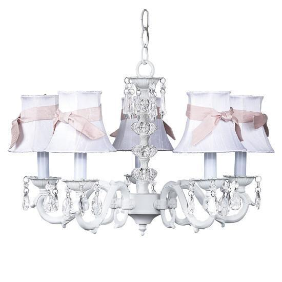 White Turret 5 Light Chandelier with White Chandelier Shades and Pink Chandelier Sash