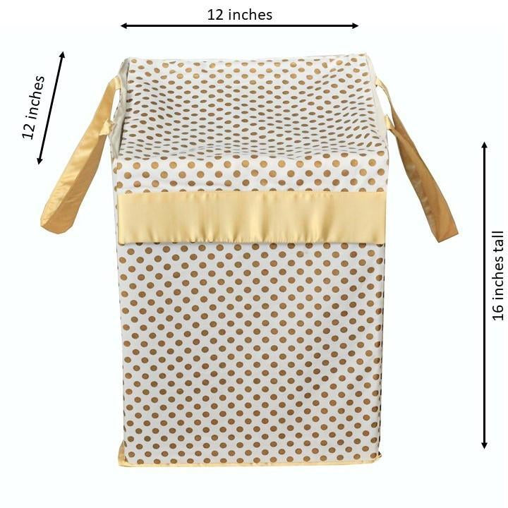 "Metallic Fabric Collapsible Cotton Storage Basket or Bin with Gold Satin Highlights, Home Organizer Solution for Office, Bedroom, Closet, Toys, Laundry (Medium – 16x12x12""), Gold Small Dots Hamper-Hamper-Jack and Jill Boutique"