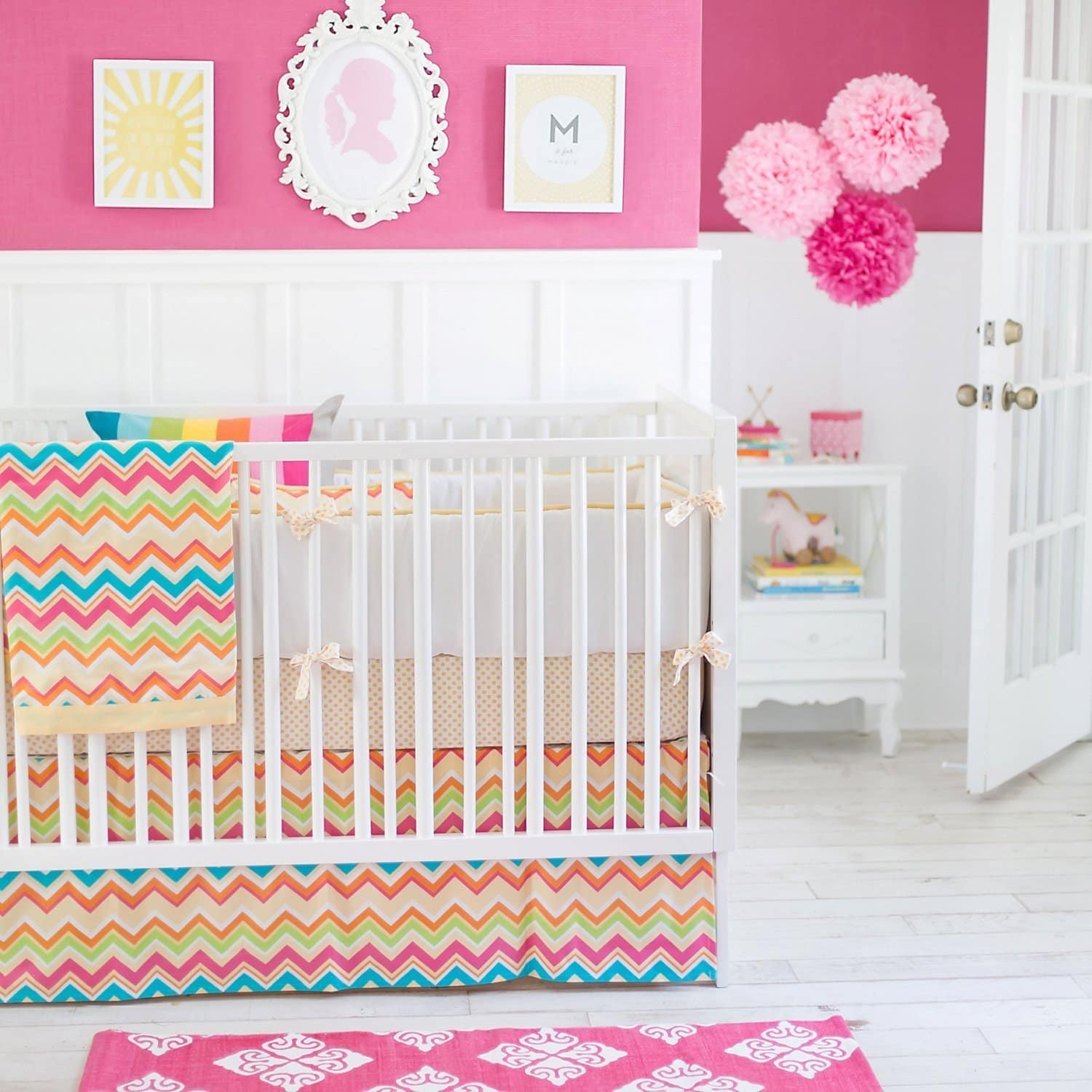 Yellow & Pink Chevron Sunnyside Up Baby Bedding Set-Crib Bedding Set-New Arrivals-Jack and Jill Boutique