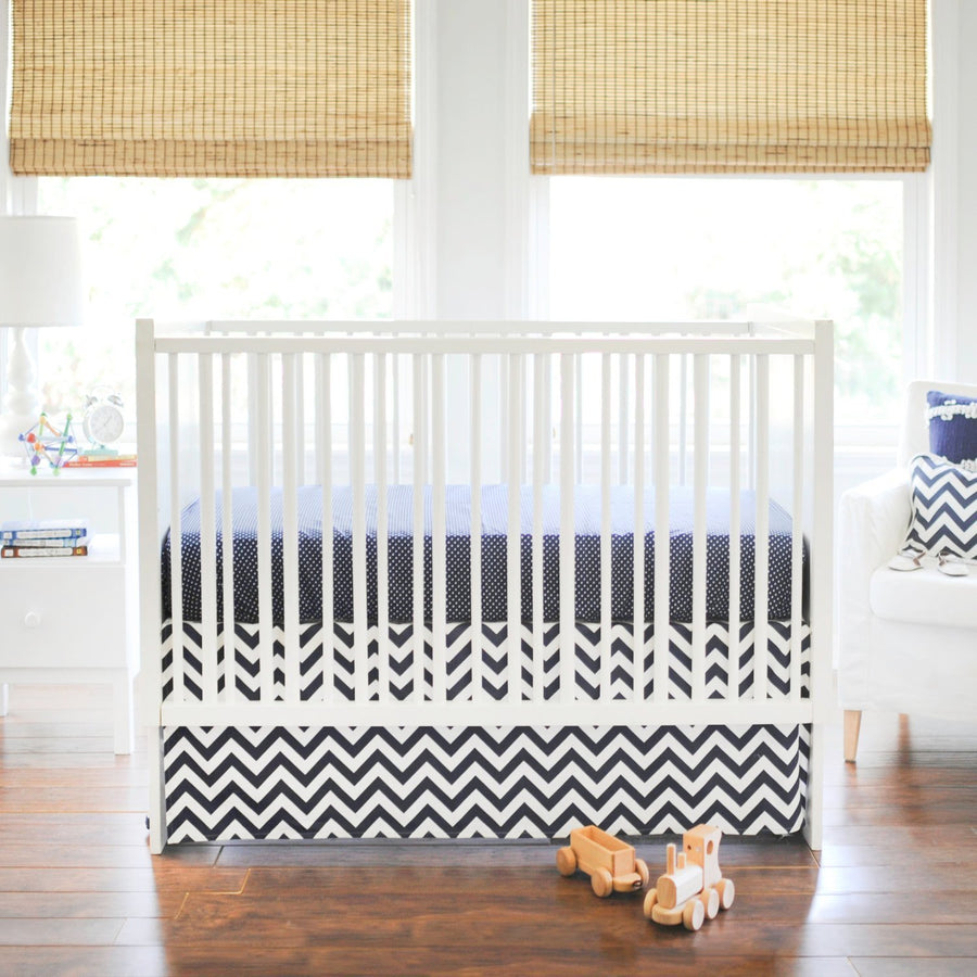 Zig Zag Baby in Navy Baby Bedding Set