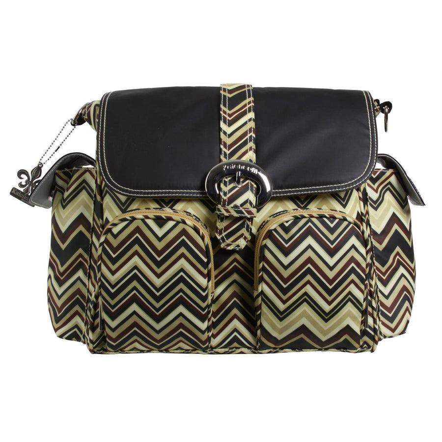 Zigzag - Black/Brown Matte Coated Double Duty Diaper Bag | Style 2991 - Kalencom-Diaper Bags-Default-Jack and Jill Boutique