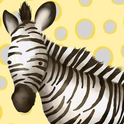 Zoey the Zebra - Yellow & Grey | Canvas Wall Art-Canvas Wall Art-Jack and Jill Boutique