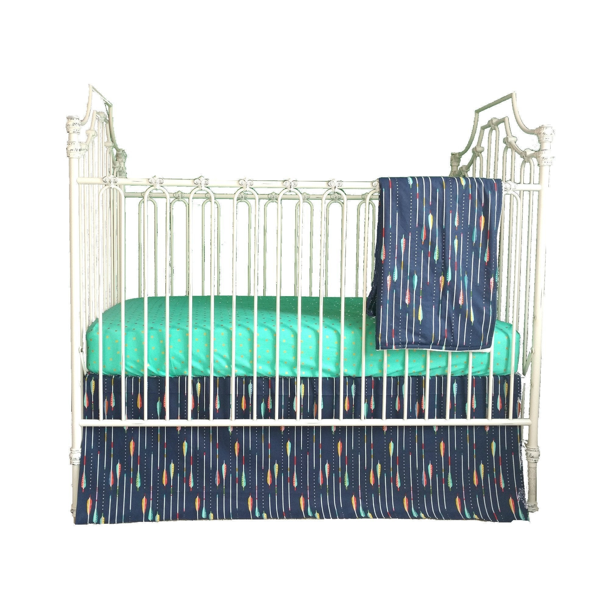 Zuma's Tribal Arrow Baby Bedding | Navy and Gold Crib Bedding Set-Crib Bedding Set-Jack and Jill Boutique