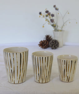 cups with handpainted stripes in 3 sizes