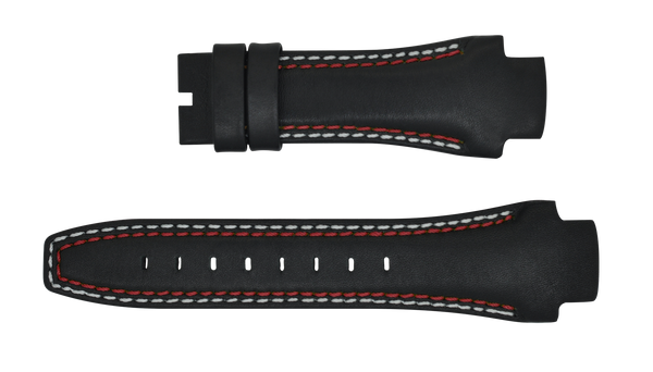 Phantom 49mm Black Leather Strap (Red & White Stitch)