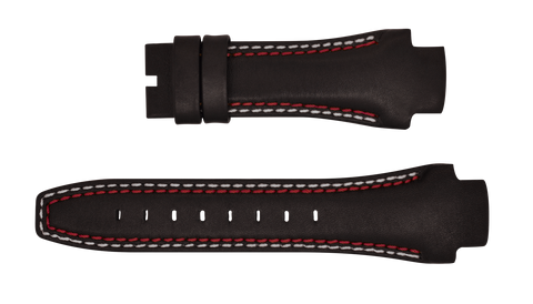 Phantom 49mm Brown Leather Strap (Red & White Stitch)