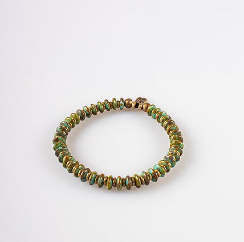 Indochine Collection Bracelet laiton et perles de verre lagune