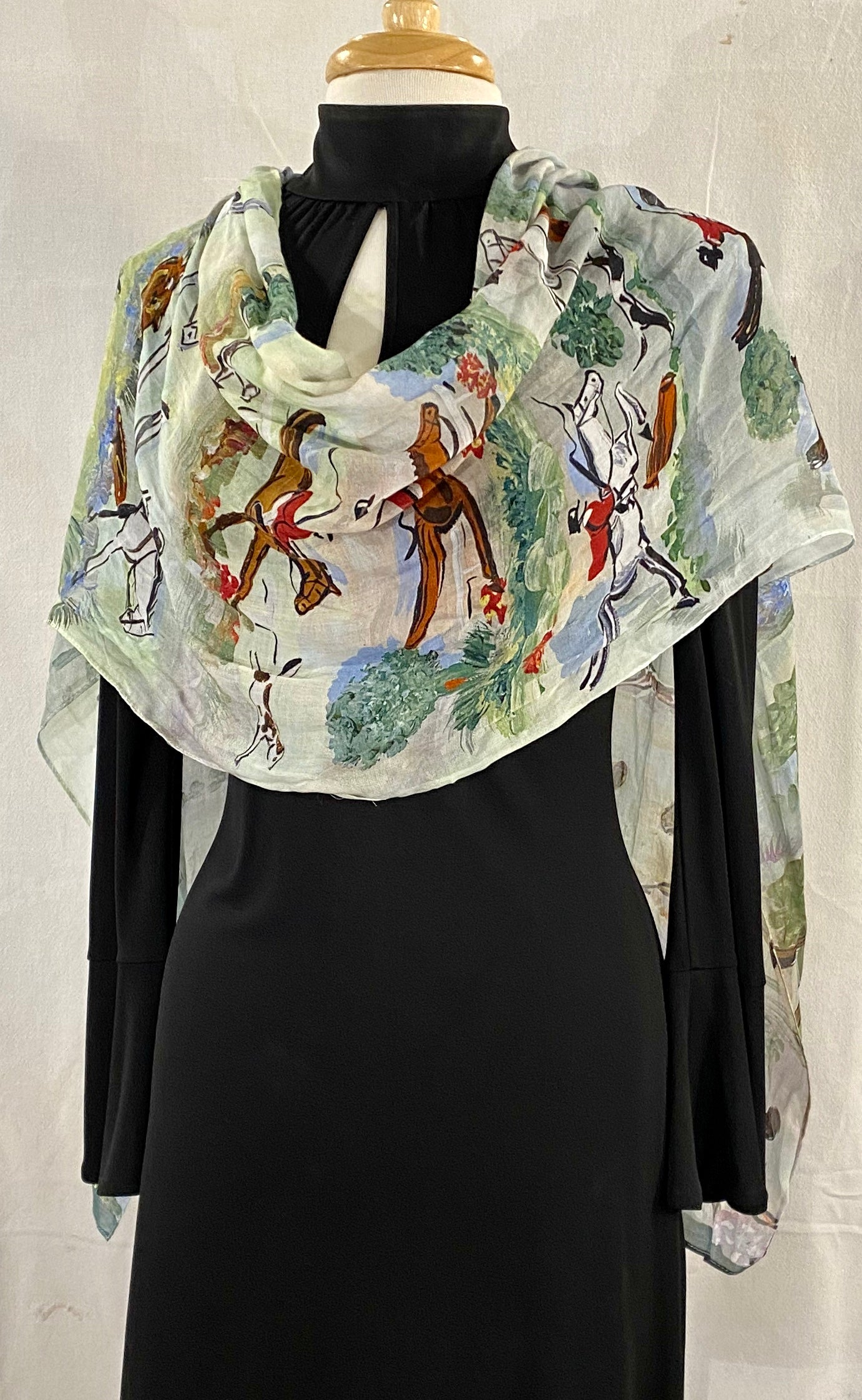 "Frédérique's Fox Hunt Scene Design 72"" X 18"" Modal Fabric Scarf"