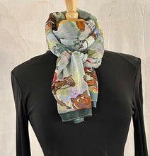"Load image into Gallery viewer, Frédérique's Fox Hunt Scene Design 72"" X 18"" Modal Fabric Scarf"