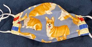 Corgi's w/ Red, White and Blue trim at Cheeks! Reversible TOO! (AFTER WASHING!)