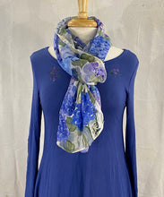 "Load image into Gallery viewer, Frédérique's Hydrangea Design 72"" X 18"" Modal Fabric Scarf"