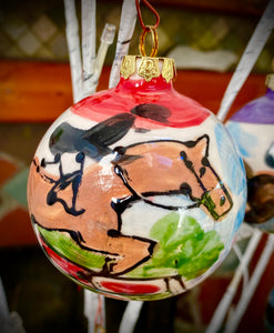 "Christmas Holiday Ornaments - Equestrian Hand Painted Ceramic ornaments available in 2.5"", 3"" & 3.5"""