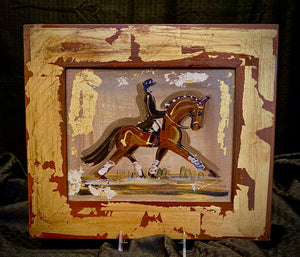 "8"" X 10"" Framed Gold Leaf accented Dressage Motif painting on canvas"