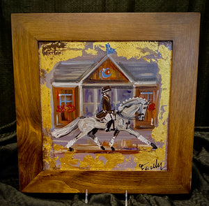 "12"" X 12"" Framed Gold Leaf accented Dressage Rider ""Passing the Barn at Devon"" Motif painting on canvas"