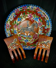 "Load image into Gallery viewer, Versailles Collection - 13"" Dressage Motif Cherry Wood Bowl w/ Dressage Motif Salad Servers"