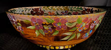 "Load image into Gallery viewer, Versailles Collection - 14"" Fox Hunt Motif Cherry Wood Bowl"
