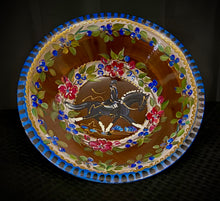 "Load image into Gallery viewer, Versailles Collection - 12"" Dressage Motif Walnut Wood Bowl with accompanying 7"" salad bowls."