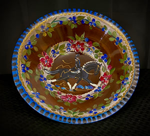 "Versailles Collection - 12"" Dressage Motif Walnut Wood Bowl with accompanying 7"" salad bowls."