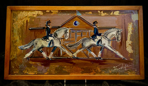 "24"" X 12"" Framed Gold Leaf accented Pas de Deux ""Passing the Barn at Devon"" Motif painting on canvas"