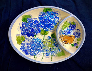 "12"" X 9"" Ceramic Hydrangea Chip 'n' Dip Server"